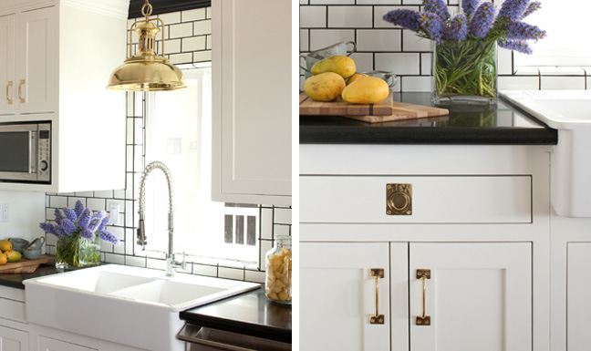 gold hardware and light fixture at kitchen