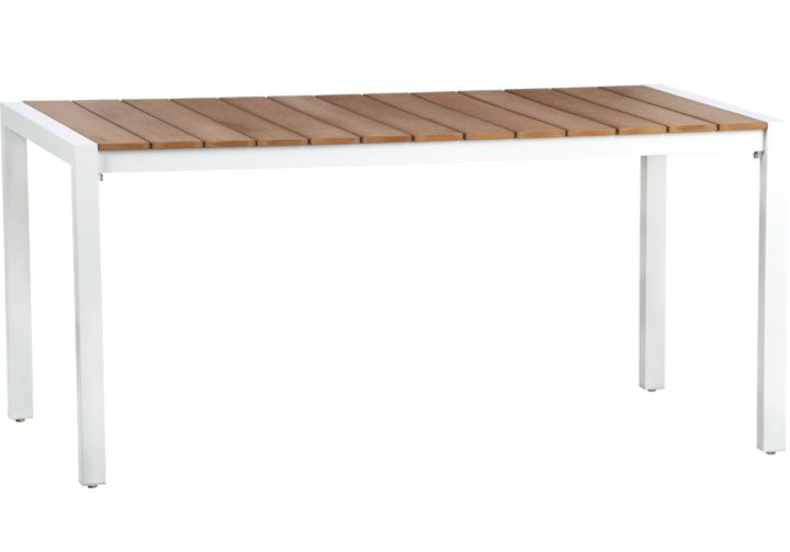 White frame wood top outdoor dining table