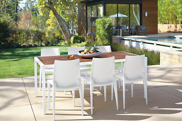 white outdoor dining table sets wood top frame with umbrella hole wicker furniture